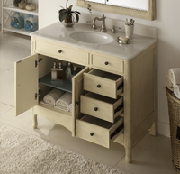 "38 inch Bathroom Vanity with 3 Drawers Cottage Style Distressed Vintage Cream Color (38""Wx21""Dx35""H) CHF837WP"