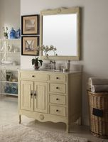 """38 inch Bathroom Vanity with 3 Drawers Cottage Style Distressed Vintage Cream Color (38""""Wx21""""Dx35""""H) CHF837WP"""