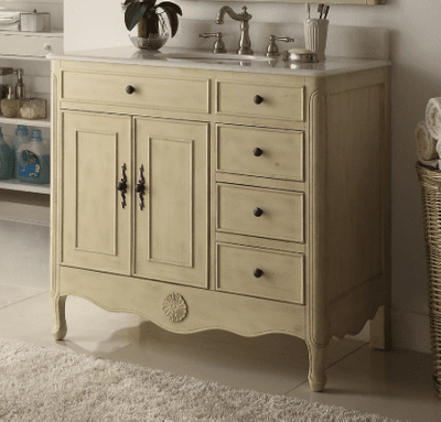 "38 inch Bathroom Vanity with 3 Drawers on The Right Cottage Style Distressed Vintage Cream Color (38""Wx21""Dx35""H) CHF837WP"