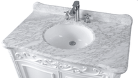 "39 inch White Traditional Bathroom Vanity & Carrara Top (39""Wx23""Dx35""H) CCF1092A"