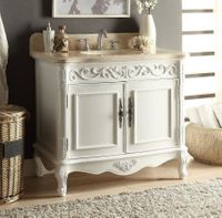 "39 inch White Color Bathroom Vanity & Beige Marble Top (39""Wx22""Dx35""H) CHF1092B"