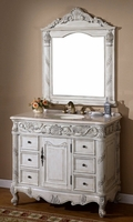 "40 inch Bathroom Vanity Traditional Antique Distressed White Including Mirror (40""W x 22""D x 37""H) S7640C"