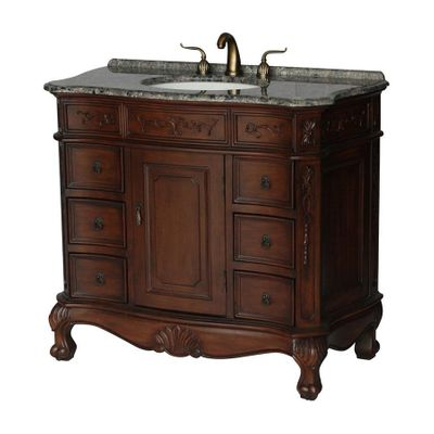 "40 inch Brown Walnut Color Bathroom Vanity With Gray Granite Top (40""Wx20.5""Dx36""H) S4000GY"