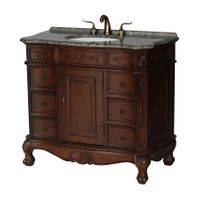 """40 inch Brown Walnut Color Bathroom Vanity With Gray Granite Top (40""""Wx20.5""""Dx36""""H) S4000GY"""
