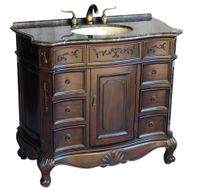 "40 inch Brown Walnut Color Bathroom Vanity With Brown Stone Top (40""Wx20.5""Dx36""H) S4000MXC"