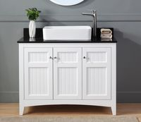 """42 inch Bathroom Vanity Beadboard Casual Style White Color (42'Wx20""""Dx33""""H) CGD77888GT"""