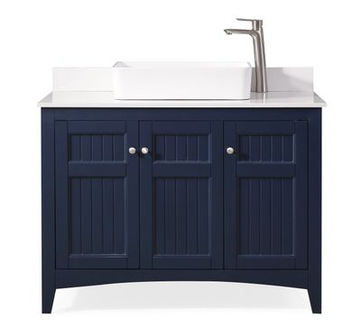 """42 inch Bathroom Vanity Cottage Beach Style Navy Blue Color (42'Wx20""""Dx33""""H) CGD77333NBC"""