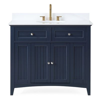 """42 inch Bathroom Vanity Cottage Beach Style Navy Blue Color (42'Wx21""""Dx37""""H) CGD47535NBC"""