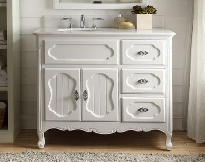 "42 inch Bathroom Vanity Cottage Beadboard Style White Color (42""Wx21""Dx35""H) CGD1509W42C"