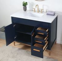 "42 inch Navy Blue Bathroom Vanity Modern Style Quartz Top (42""Wx22""Dx35""H) CTB9444NBV42"