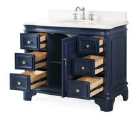 """42 inch Single Sink Bathroom Vanity Navy Blue Finish with 6 Drawers (42""""Wx22""""Dx35""""H) C1044NBQT"""