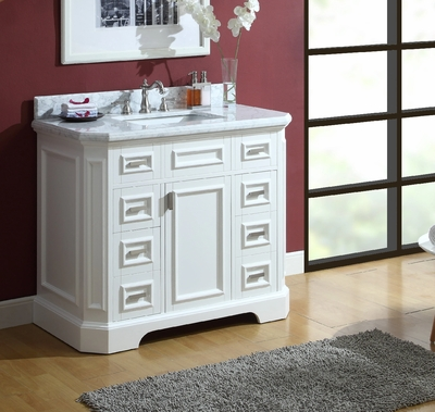 42 inch White Bathroom Vanity Carrara Marble Top CGD972242