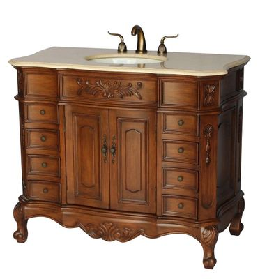 "42 inch Brown Walnut Bathroom Vanity with Beige Stone Top (42""W x 22""D x 35""H) S281542BE"