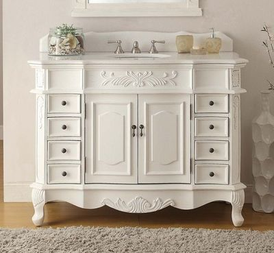 """42 inch Antique White Bathroom Vanity with Crystal White Marble Top (42""""Wx22""""Dx36""""H) CCF2815WAW42"""