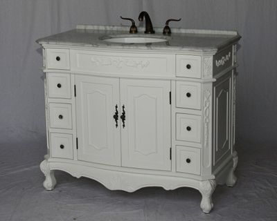 "42 inch White Color Bathroom Vanity With Carrara marble Top (42""Wx21""Dx37""H) S190542WK"