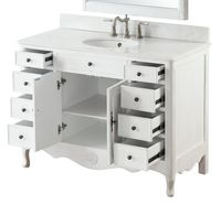 """46.5 inch Bathroom Vanity Cottage Style Distressed Vintage Antique White Color (46.5""""Wx21""""Dx35""""H) CHF8535AWC"""