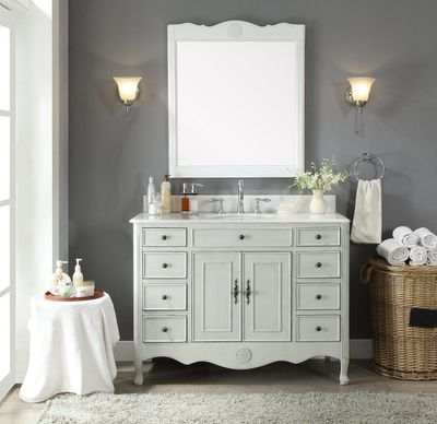 """46.5 inch Bathroom Vanity Cottage Style Distressed Vintage Gray Color with 8 Drawers (46.5""""Wx21""""Dx35""""H) CHF8535CKC"""