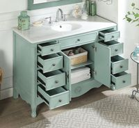 """46.5 inch Bathroom Vanity Cottage Style Distressed Vintage Light Blue Color (46.5""""Wx21""""Dx35""""H) CHF8535BUC"""