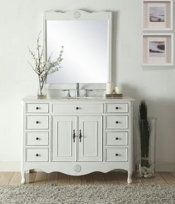 """46.5 inch Bathroom Vanity Distressed Vintage Antique White Color with 8 Drawers (46.5""""Wx21""""Dx35""""H) CHF8535AW"""