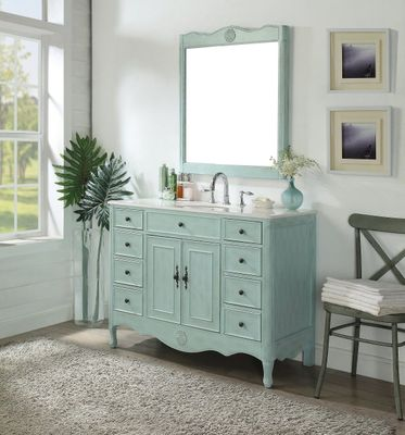 """46.5 inch Bathroom Vanity Distressed Vintage Light Blue Color with 8 Drawers (46.5""""Wx21""""Dx35""""H) CHF8535BU"""