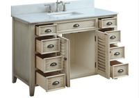 "47 inch Bathroom Vanity Louvered Doors Style Distressed Beige Color (46.5""Wx21.50""Dx34""H) CCF28325"