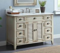 "47 inch Bathroom Vanity Louvered Doors Style Distressed Beige Color (46.5""Wx21.5""Dx34""H) CCF28325"