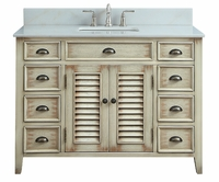 "46.5 inch Bathroom Vanity Louvered Doors Style Distressed Beige Color (46.5""Wx21.5""Dx34""H) CCF28325"