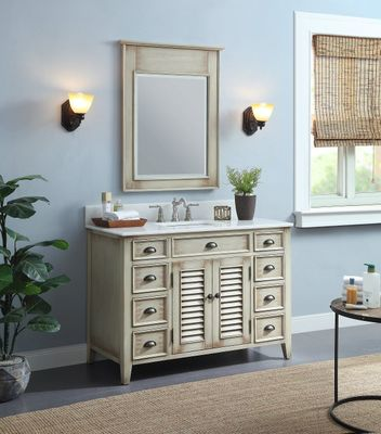 """46.5 inch Bathroom Vanity Louvered Doors Style Distressed Beige Color (46.5""""Wx21.5""""Dx34""""H) CCF28325"""