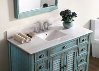 "47 inch Bathroom Vanity Cottage Beach Style Distressed Blue Color (46.5""Wx21.75""Dx34""H) CCF28885BU"