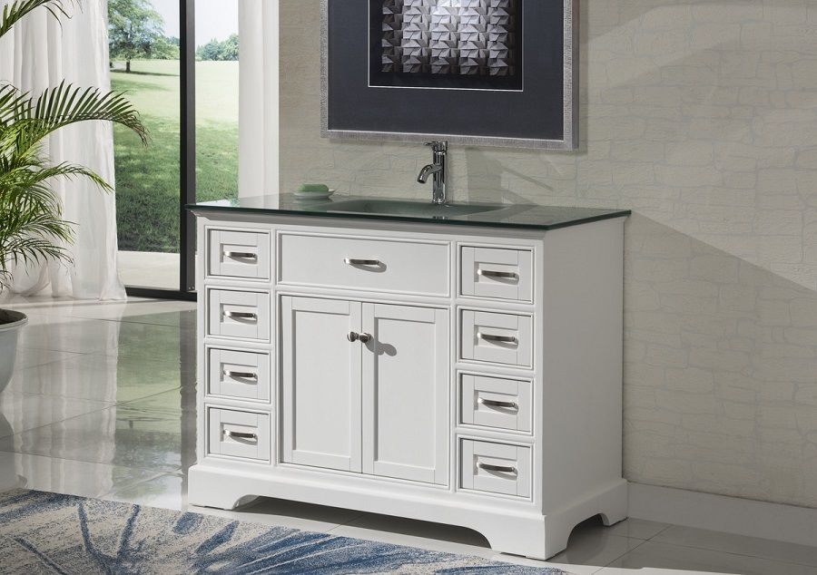 46 Inch Bathroom Vanity Transitional Shaker White Color With Glass Top 46 Wx21 Dx35 H S2422w