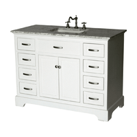 "46 inch Bathroom Vanity Transitional Shaker White Color with Marble Top (46""Wx21""Dx35""H) S2422WK"