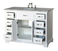 """46 inch Bathroom Vanity Transitional Shaker White Color with Marble Top (46""""Wx21""""Dx35""""H) S2422WK"""