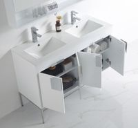 """47 inch Minimalist Double Sink Bathroom Vanity White Finish (47""""Wx18""""Dx33""""H) CCL101WH47QD"""
