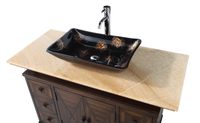 "48 inch Bathroom Vanity Vessel Sink Top Contemporary Style Medium Brown (48""Wx22""Dx33.5""H) DCQ1368"