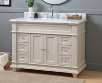 """48 inch Taupe Shaker Bathroom Vanity Cottage Beach Style Carrara Marble Top (48""""Wx22""""Dx36""""H) CHF1084TPC"""