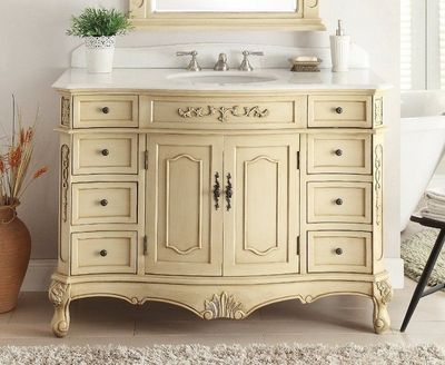 "48 inch Bathroom Vanity Traditional Style Creamy Beige Color (48""Wx21""Dx35""H) CBC3905WLT48"