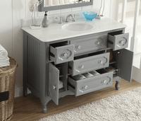 """48 inch Bathroom Vanity Victorian Cottage Gray (48""""W x 21""""D x 35""""H) CGD1522CK48 FREE SHIPPING"""
