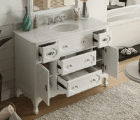 """48 inch Bathroom Vanity Cottage Beach Style Vintage White Color (48""""Wx21""""Dx35""""H) CGD1522W48"""
