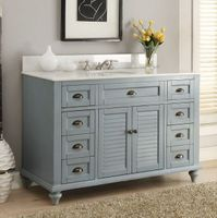 "49 inch Bathroom Vanity Cottage Coastal Beach Style Blue Color (49""Wx22""Dx35""H) CGD28328BU"
