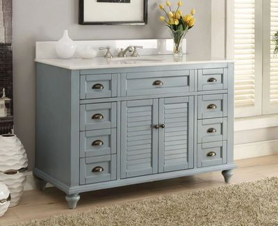 "49 inch Bathroom Vanity Cottage Coastal Beach Style Blue Color (49""Wx22""Dx35""H) CGD28328BUC"