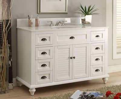 "49 inch Shutter Bathroom Vanity Cottage Coastal Beach Style White Color (49""Wx22""Dx35""H) CGD28327W"