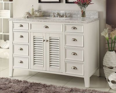 "50 inch Bathroom Vanity Cottage Coastal Beach Style White Color (50""Wx22""Dx35""H) CYR3028Q50"