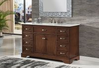 "56 inch Single Sink Bathroom Vanity Shaker Style Walnut Color (56""Wx21""Dx35""H) S242256SK"