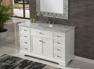 "56 inch Single Sink Bathroom Vanity Shaker Style White Color (56""Wx21""Dx35""H) S242256WK"