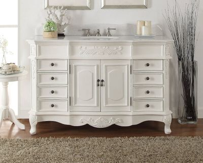 "56 inch Antique White Bathroom Vanity (56""Wx22""Dx36""H) CHF2815WAW56 FREE SHIPPING"