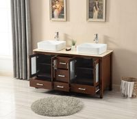 58 inch Bathroom Vanity Vessel Double Sink Walnut S2415BE