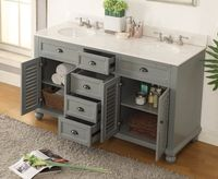 """62 inch Bathroom Vanity Cottage Beach Style Gray Color (61.75""""Wx22""""Dx36""""H) CGD21999CKC"""