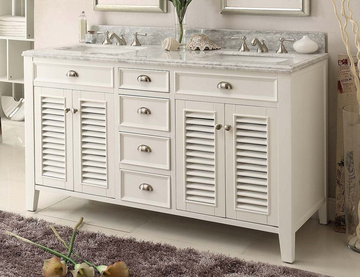 60 Inch Bathroom Vanity Cottage Style Off White Cabinet Carrara Top