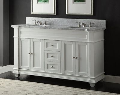 """60 inch Bathroom Vanity Cottage Shaker Beach Style White Color (60""""Wx22""""Dx36""""H) CHF1085C"""