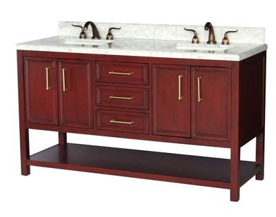 """60 inch Double Sink Bathroom Vanity Cherry Color Carrara Marble Top with Backsplash Included (60""""Wx22""""Dx35""""H) S913F"""
